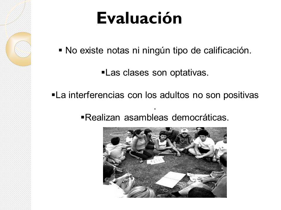 Evaluación No existe notas ni ningún tipo de calificación.