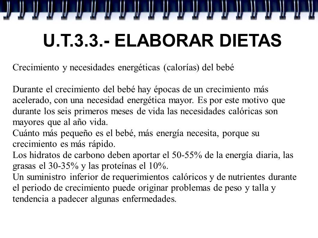 U.T.3.3.- ELABORAR DIETAS Crecimiento y necesidades energéticas (calorías) del bebé.