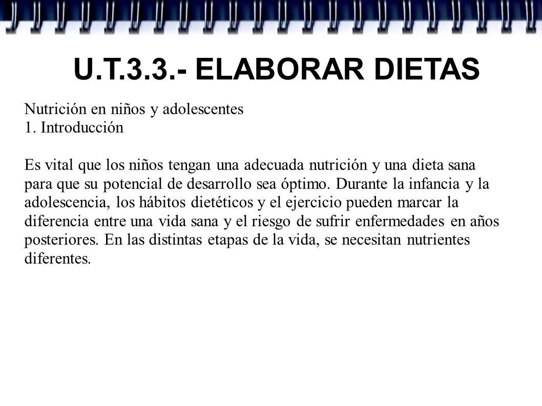 U.T.3.3.- ELABORAR DIETAS Nutrición en niños y adolescentes