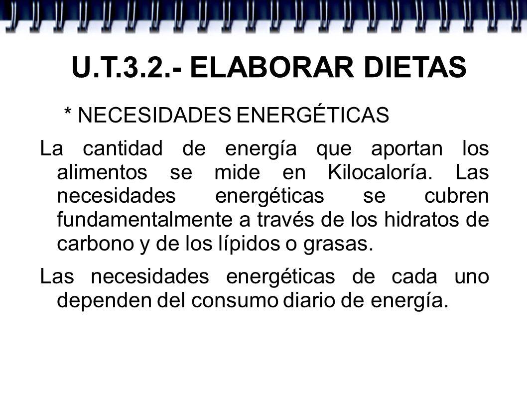 U.T.3.2.- ELABORAR DIETAS * NECESIDADES ENERGÉTICAS