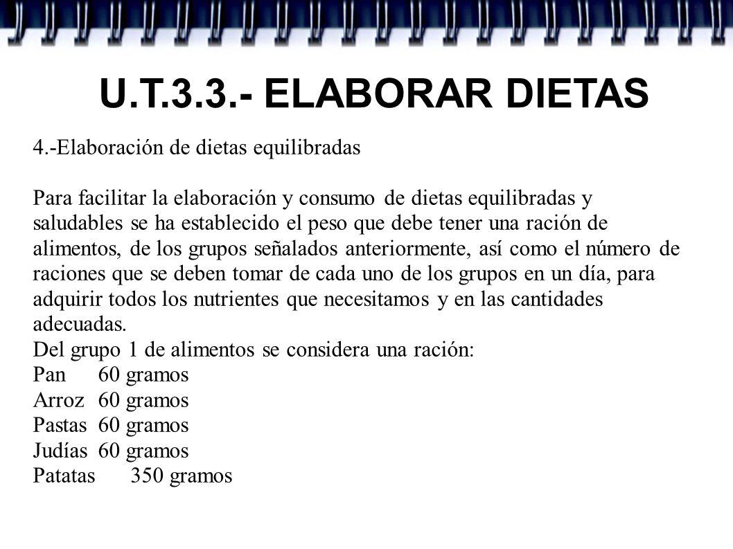 U.T.3.3.- ELABORAR DIETAS 4.-Elaboración de dietas equilibradas