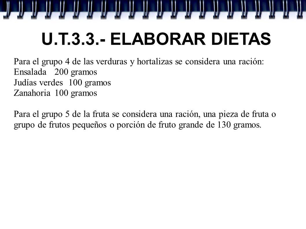 U.T.3.3.- ELABORAR DIETAS Para el grupo 4 de las verduras y hortalizas se considera una ración: Ensalada 200 gramos.