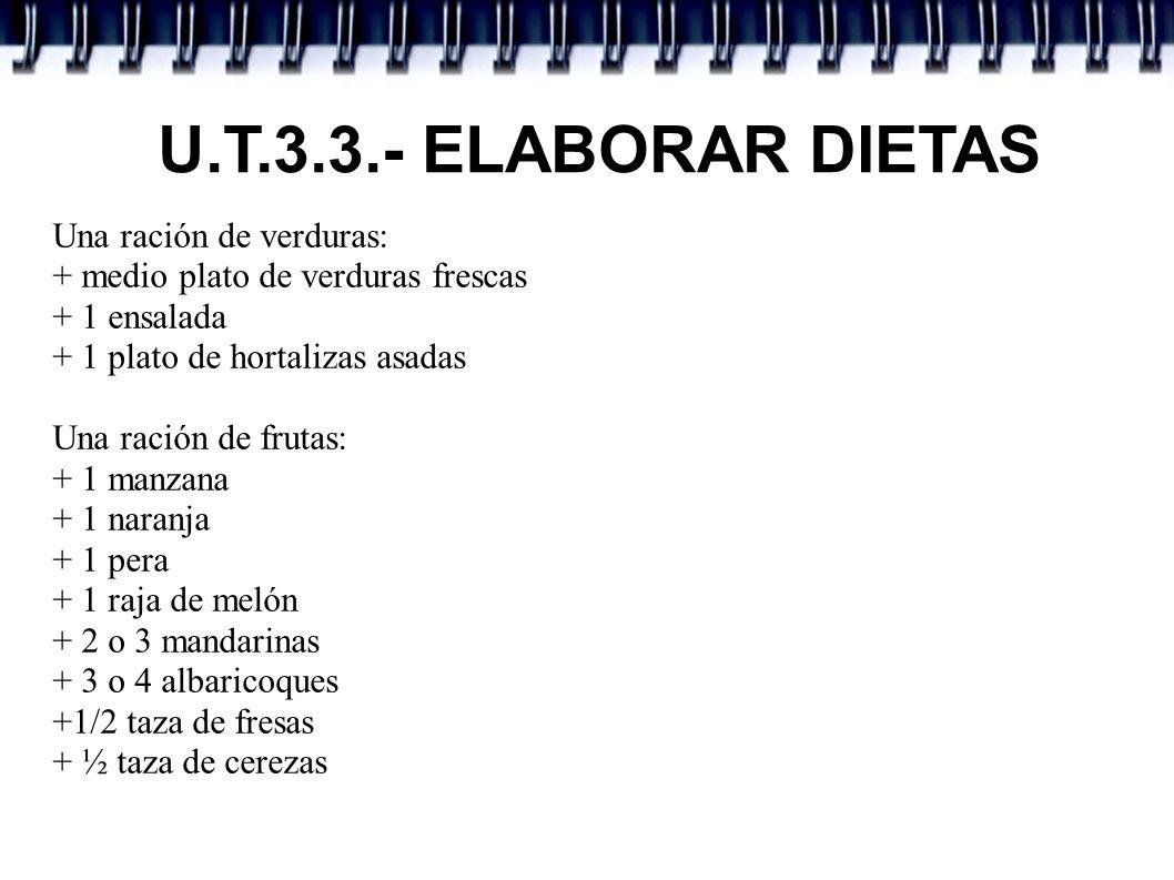 U.T.3.3.- ELABORAR DIETAS Una ración de verduras: