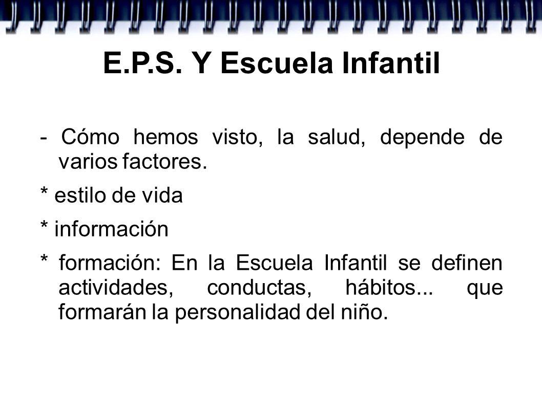 E.P.S. Y Escuela Infantil - Cómo hemos visto, la salud, depende de varios factores. * estilo de vida.