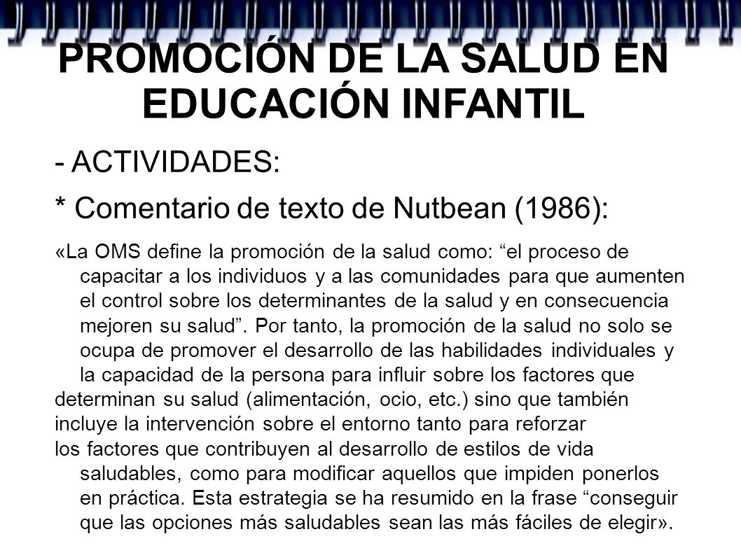 PROMOCIÓN DE LA SALUD EN EDUCACIÓN INFANTIL