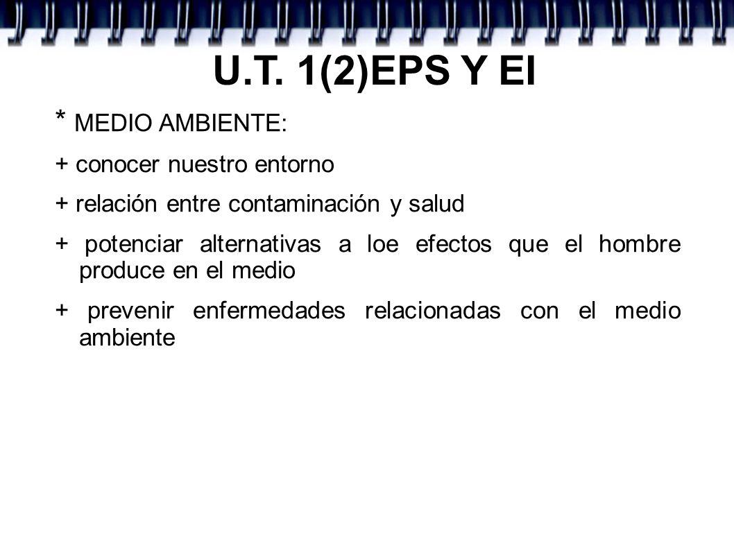 U.T. 1(2)EPS Y EI * MEDIO AMBIENTE: + conocer nuestro entorno