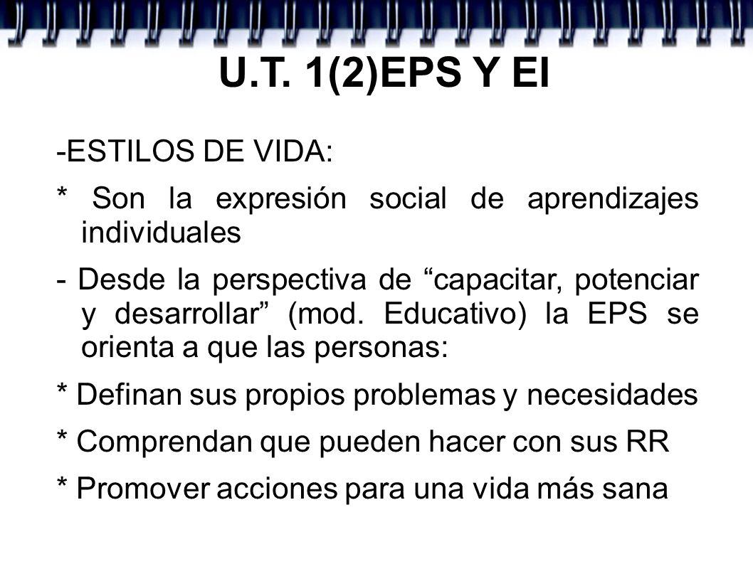 U.T. 1(2)EPS Y EI -ESTILOS DE VIDA: