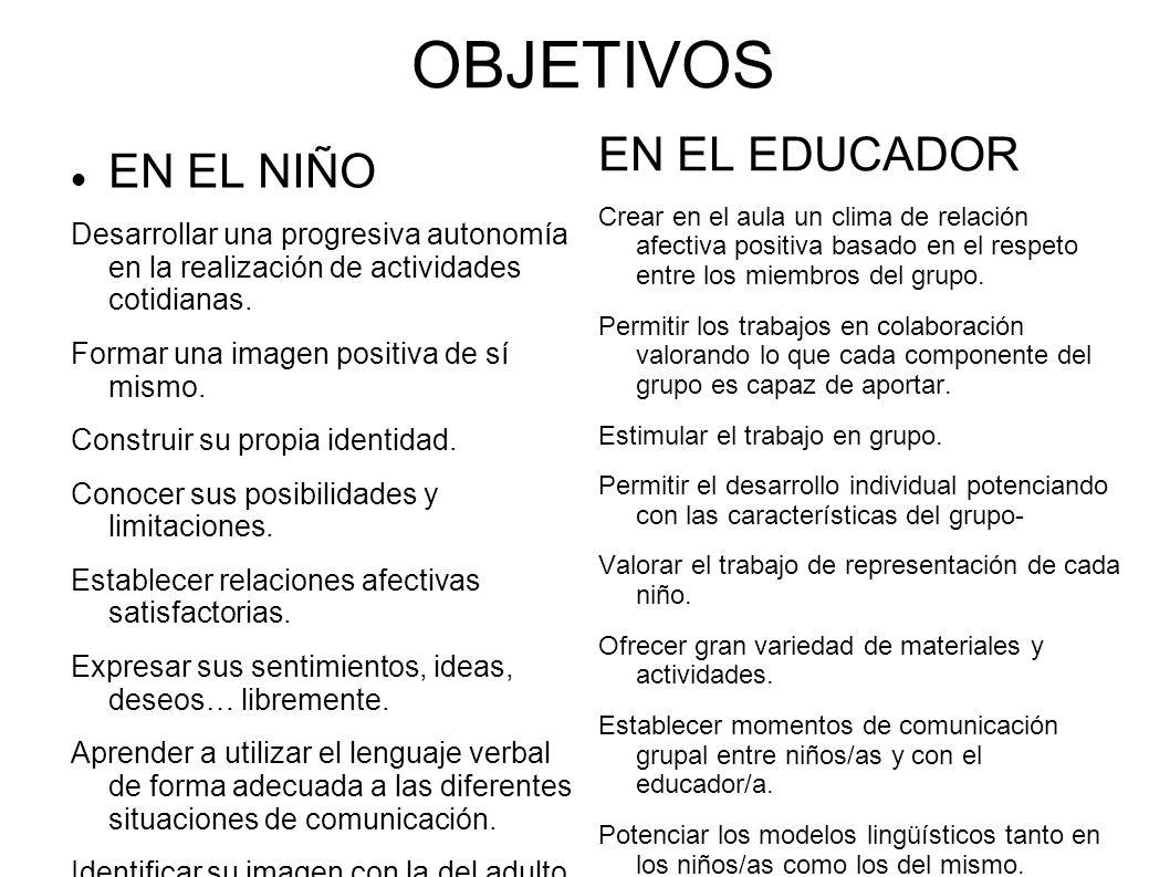 OBJETIVOS EN EL EDUCADOR EN EL NIÑO