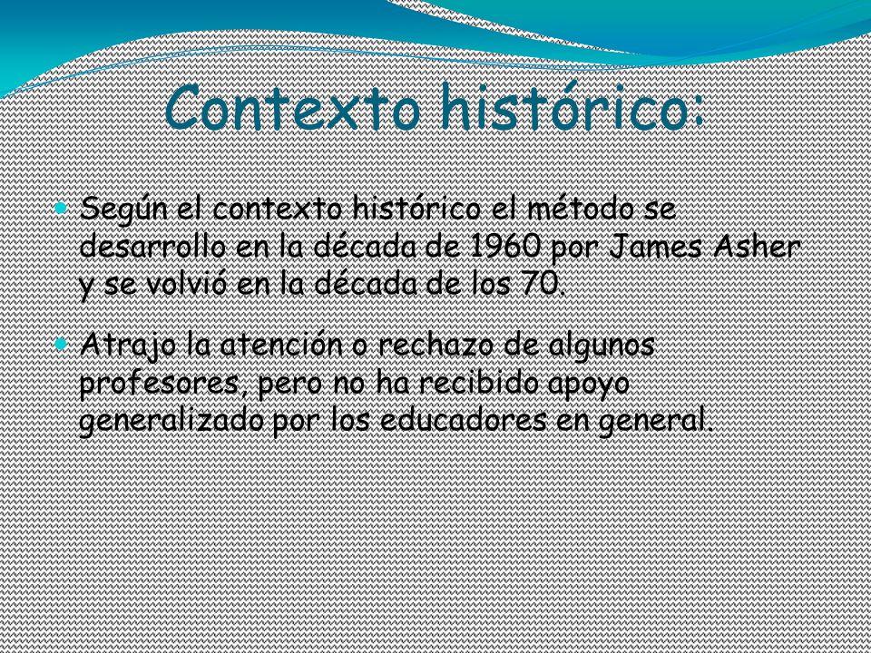 Contexto histórico:Según el contexto histórico el método se desarrollo en la década de 1960 por James Asher y se volvió en la década de los 70.