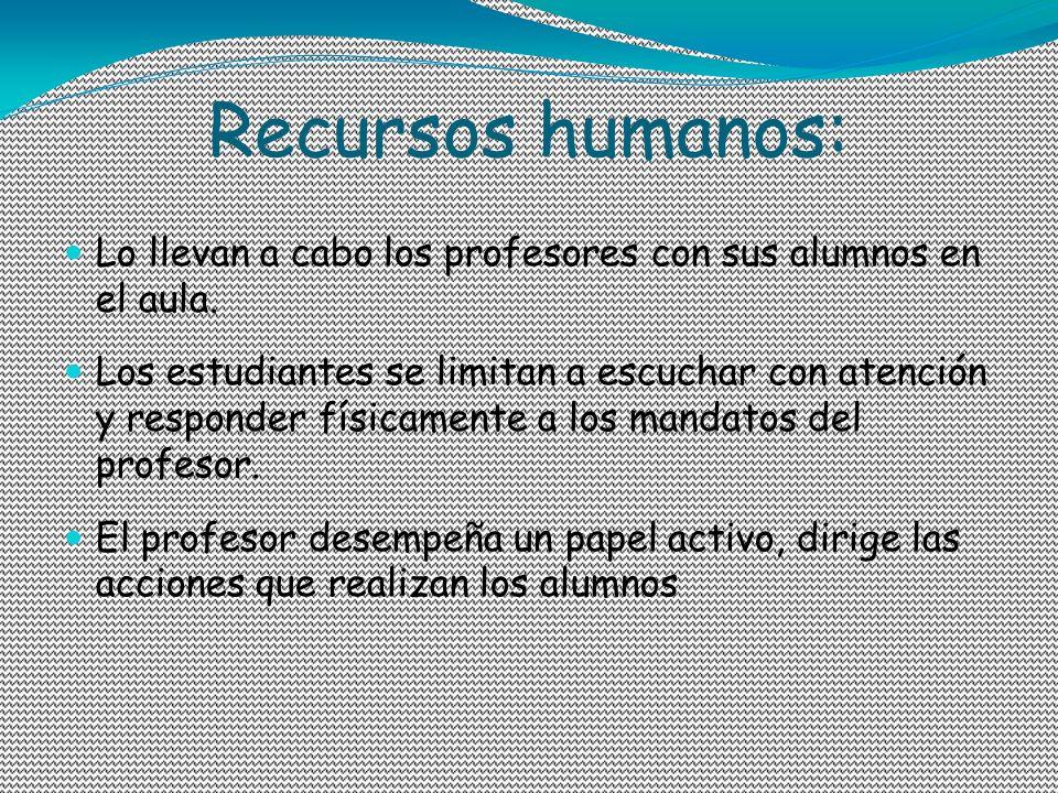 Recursos humanos: Lo llevan a cabo los profesores con sus alumnos en el aula.