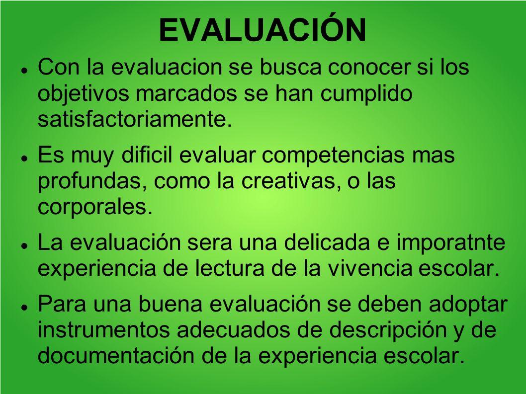 EVALUACIÓN Con la evaluacion se busca conocer si los objetivos marcados se han cumplido satisfactoriamente.