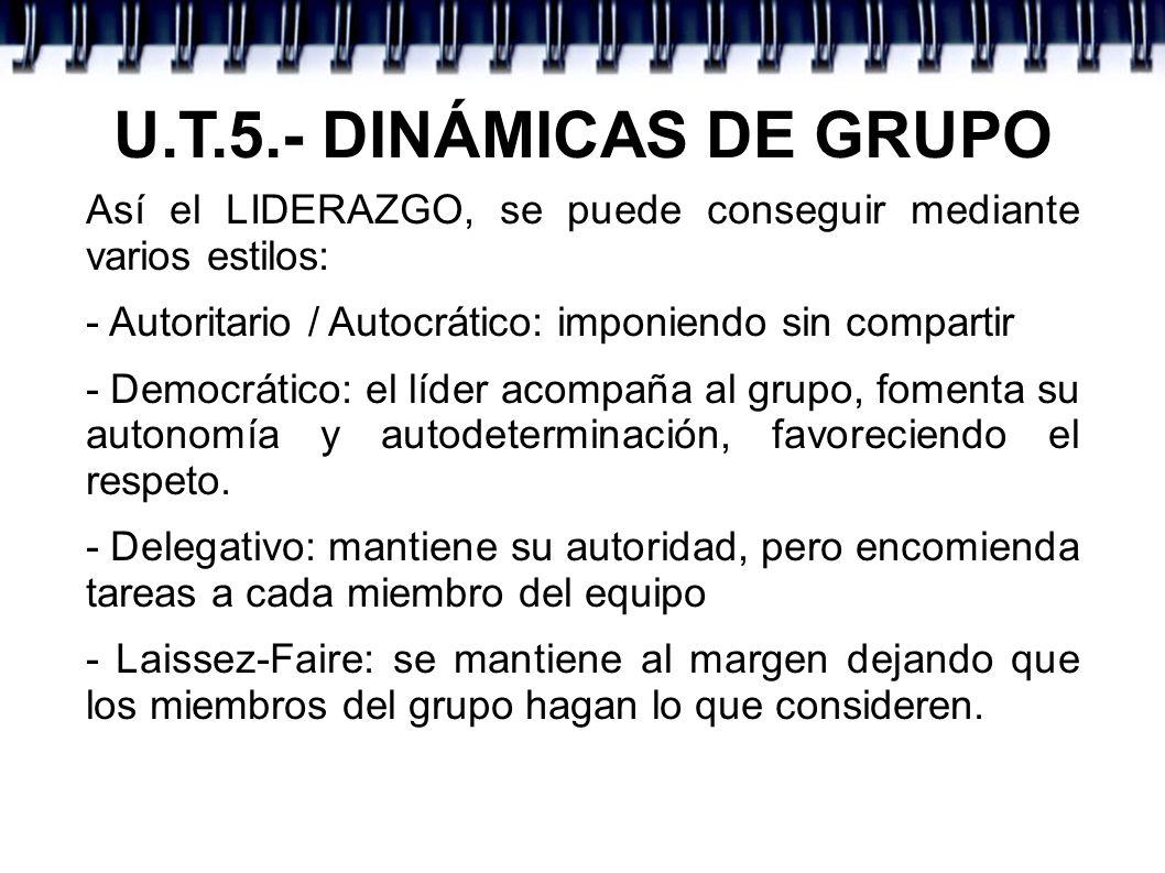 U.T.5.- DINÁMICAS DE GRUPO Así el LIDERAZGO, se puede conseguir mediante varios estilos: - Autoritario / Autocrático: imponiendo sin compartir.