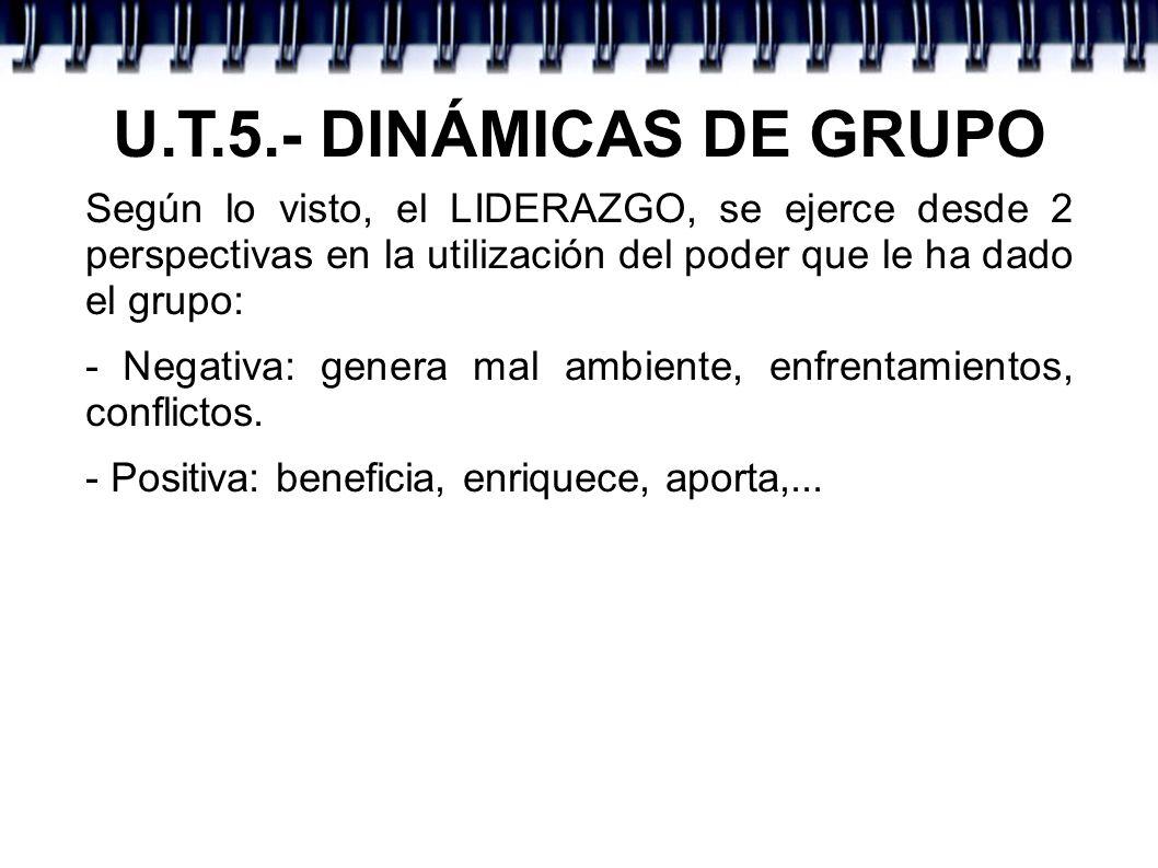 U.T.5.- DINÁMICAS DE GRUPO Según lo visto, el LIDERAZGO, se ejerce desde 2 perspectivas en la utilización del poder que le ha dado el grupo: