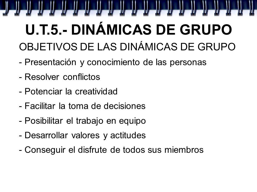 U.T.5.- DINÁMICAS DE GRUPO OBJETIVOS DE LAS DINÁMICAS DE GRUPO