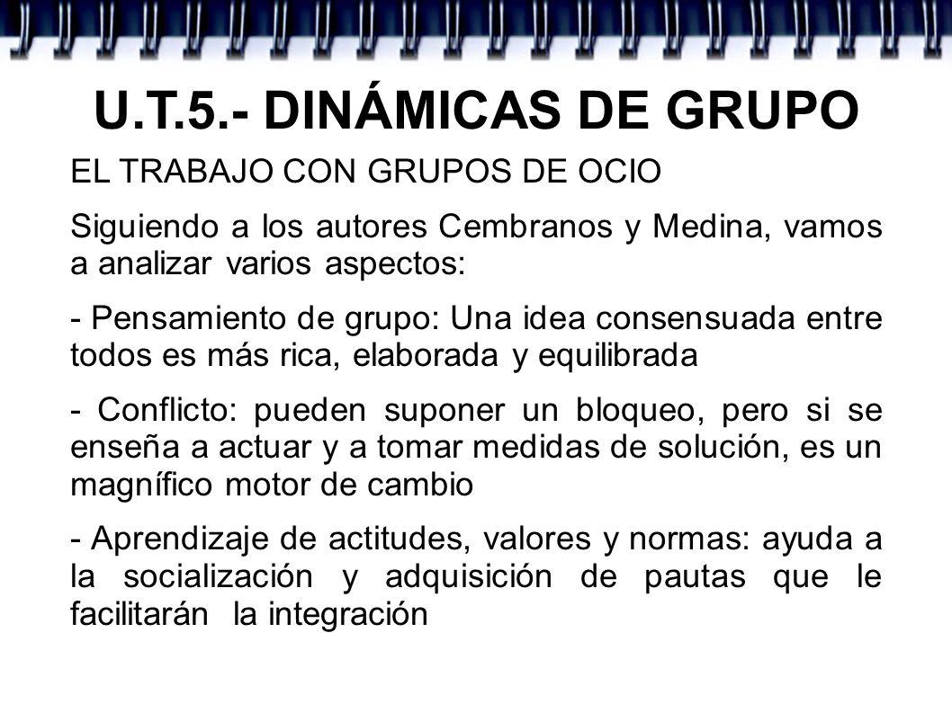 U.T.5.- DINÁMICAS DE GRUPO EL TRABAJO CON GRUPOS DE OCIO