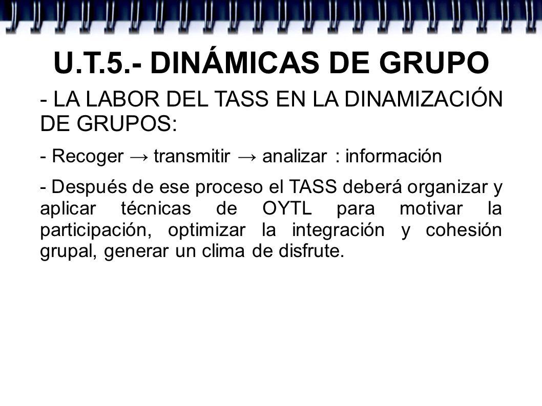 U.T.5.- DINÁMICAS DE GRUPO - LA LABOR DEL TASS EN LA DINAMIZACIÓN DE GRUPOS: - Recoger → transmitir → analizar : información.