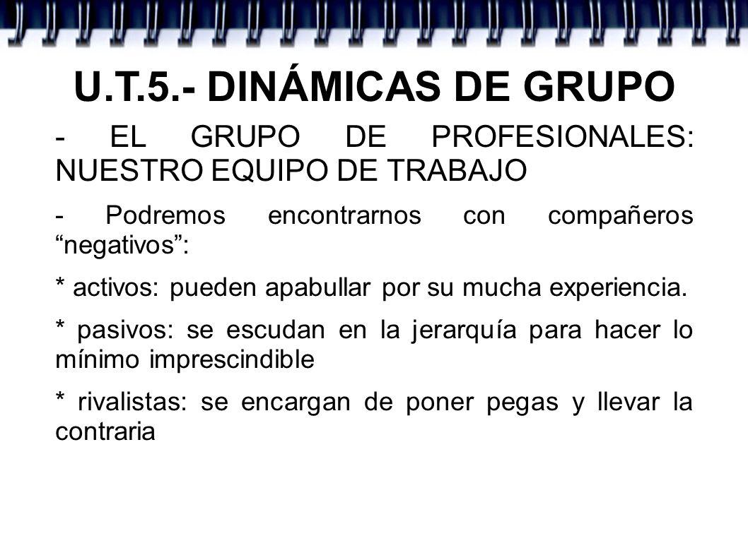 U.T.5.- DINÁMICAS DE GRUPO - EL GRUPO DE PROFESIONALES: NUESTRO EQUIPO DE TRABAJO. - Podremos encontrarnos con compañeros negativos :