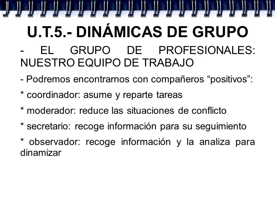 U.T.5.- DINÁMICAS DE GRUPO - EL GRUPO DE PROFESIONALES: NUESTRO EQUIPO DE TRABAJO. - Podremos encontrarnos con compañeros positivos :