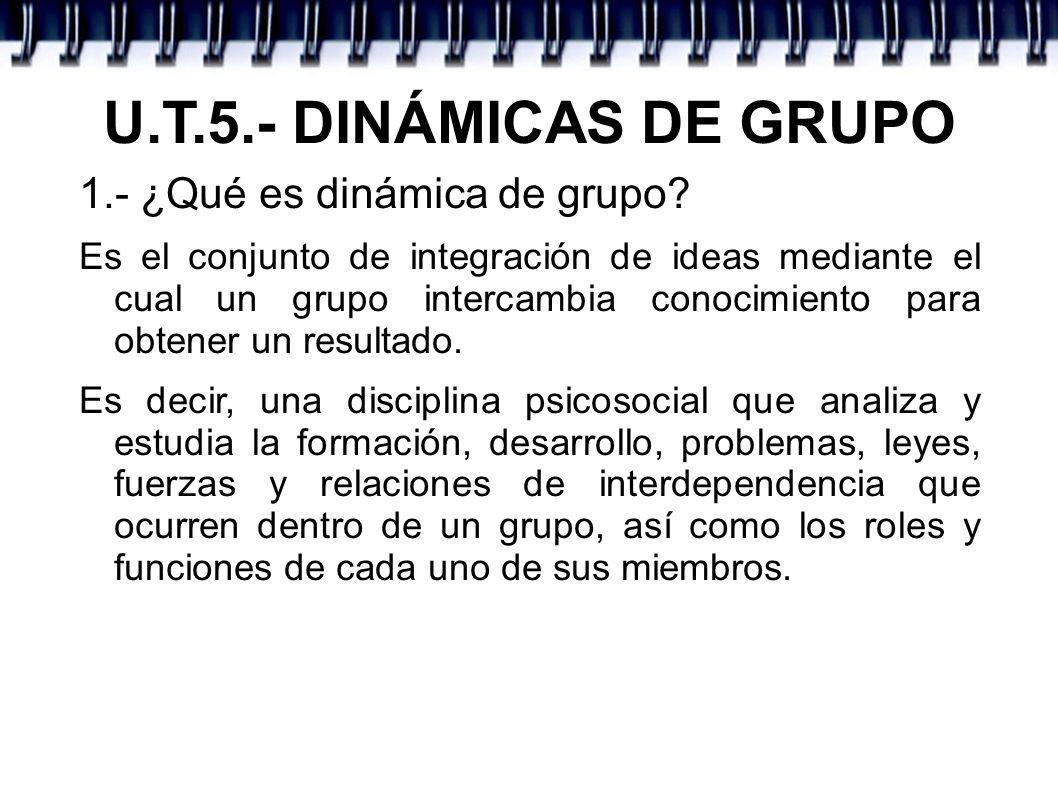U.T.5.- DINÁMICAS DE GRUPO 1.- ¿Qué es dinámica de grupo