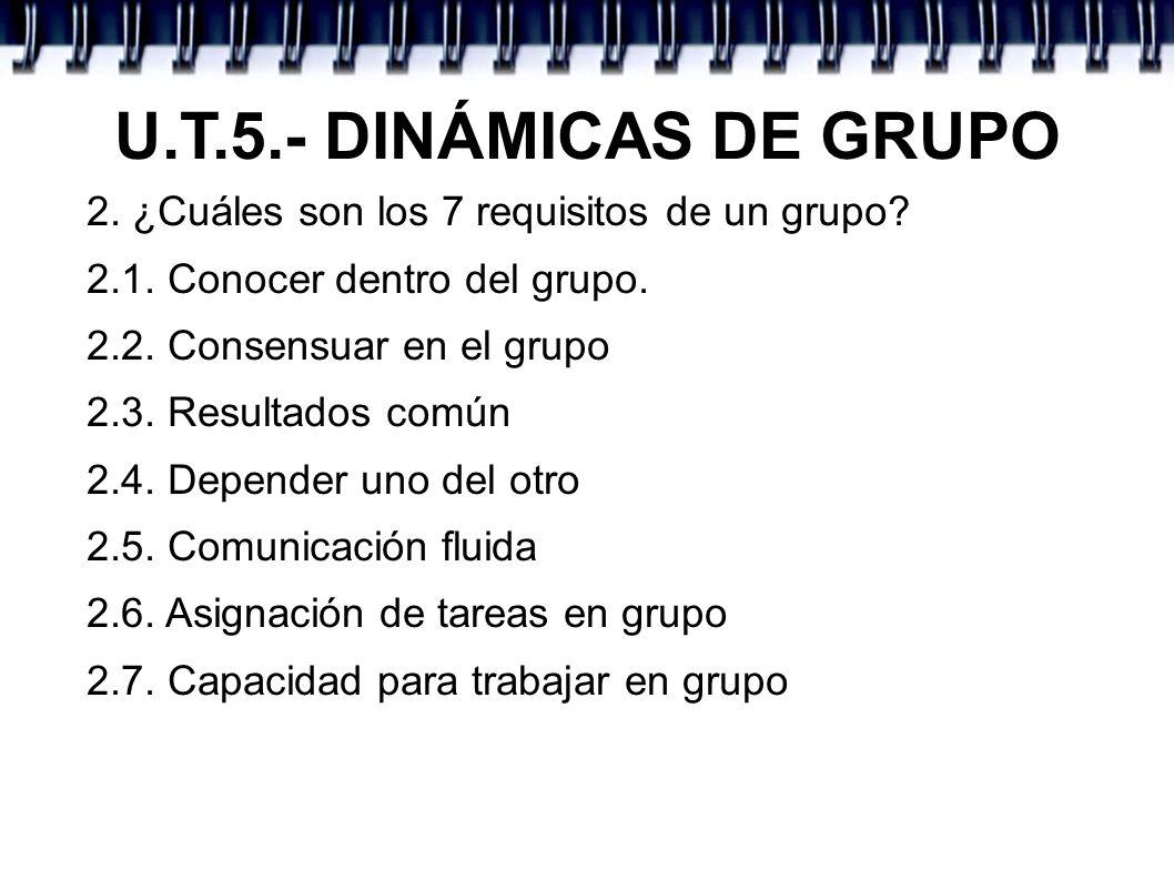U.T.5.- DINÁMICAS DE GRUPO 2. ¿Cuáles son los 7 requisitos de un grupo 2.1. Conocer dentro del grupo.