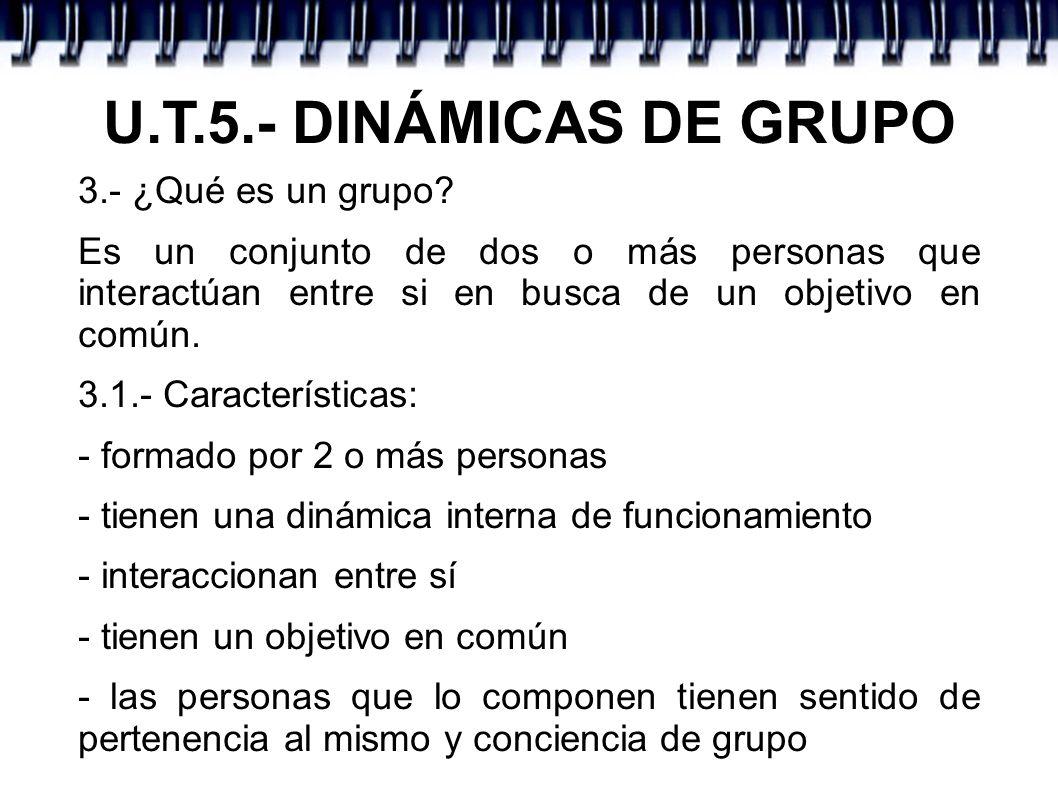 U.T.5.- DINÁMICAS DE GRUPO 3.- ¿Qué es un grupo
