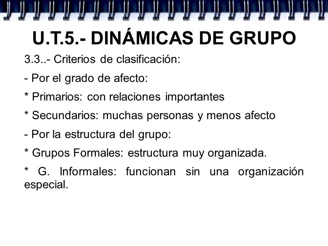 U.T.5.- DINÁMICAS DE GRUPO 3.3..- Criterios de clasificación:
