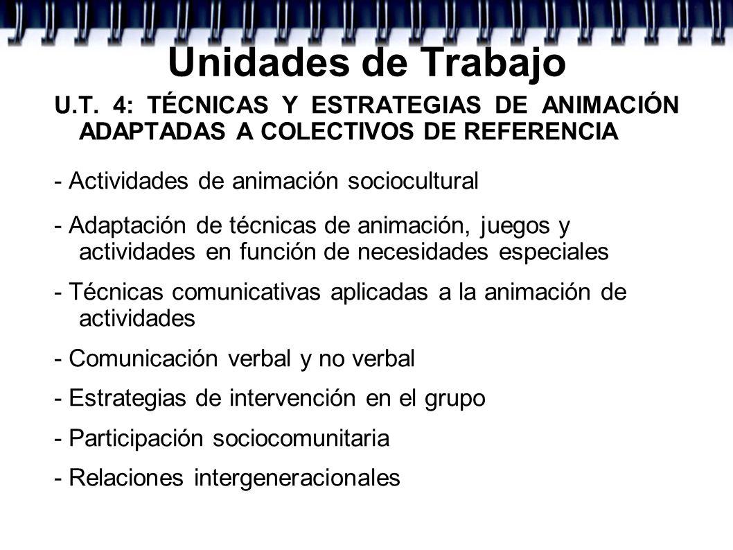 Unidades de TrabajoU.T. 4: TÉCNICAS Y ESTRATEGIAS DE ANIMACIÓN ADAPTADAS A COLECTIVOS DE REFERENCIA.