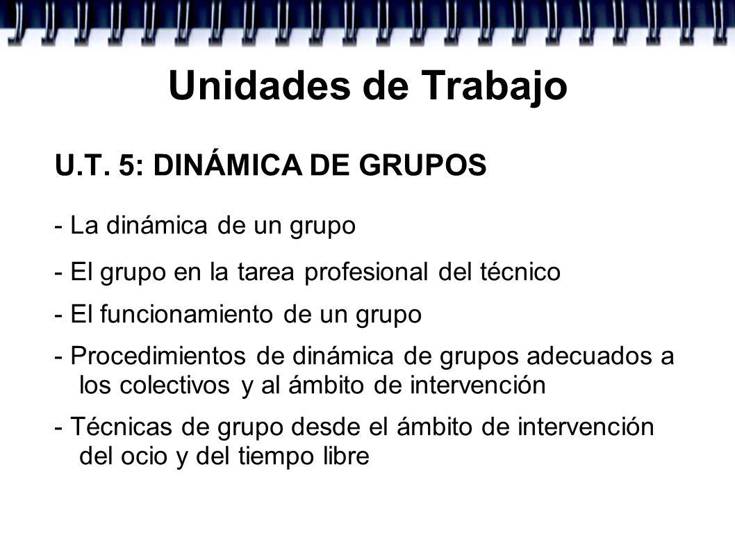 Unidades de Trabajo U.T. 5: DINÁMICA DE GRUPOS