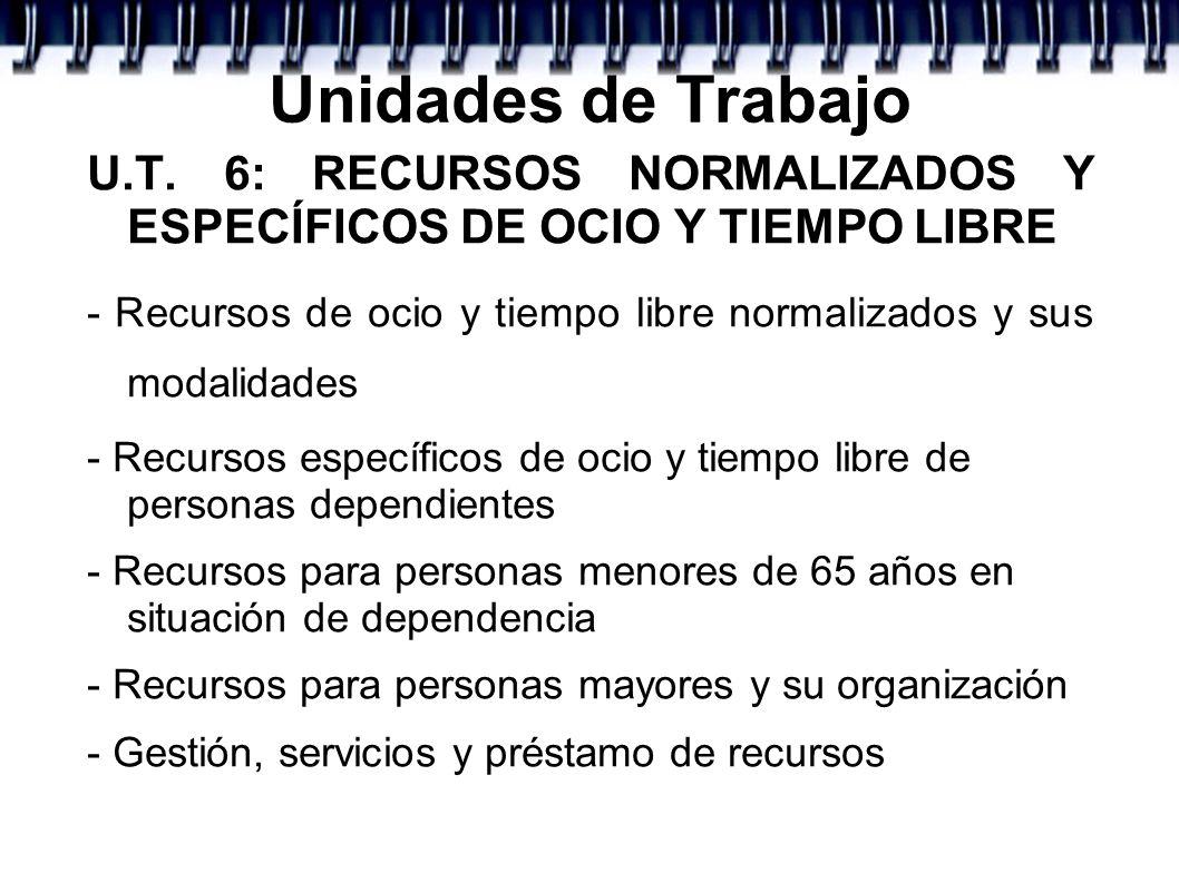 Unidades de TrabajoU.T. 6: RECURSOS NORMALIZADOS Y ESPECÍFICOS DE OCIO Y TIEMPO LIBRE.