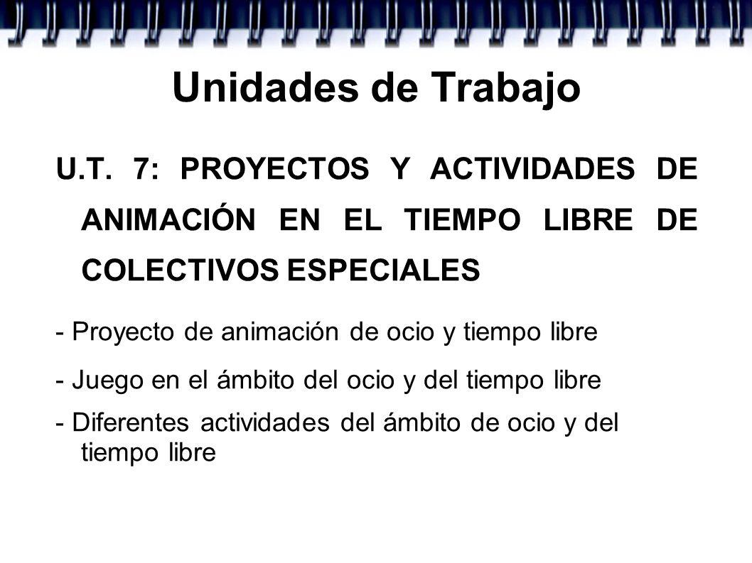 Unidades de TrabajoU.T. 7: PROYECTOS Y ACTIVIDADES DE ANIMACIÓN EN EL TIEMPO LIBRE DE COLECTIVOS ESPECIALES.
