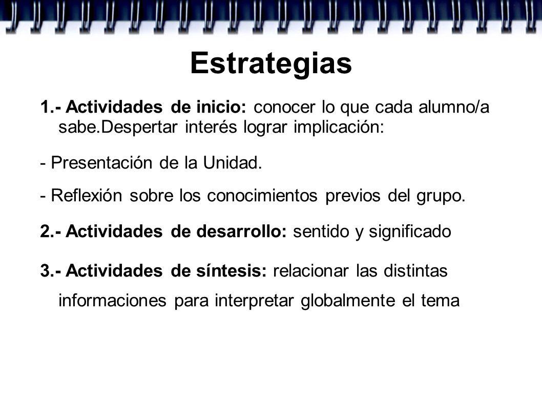 Estrategias 1.- Actividades de inicio: conocer lo que cada alumno/a sabe.Despertar interés lograr implicación: