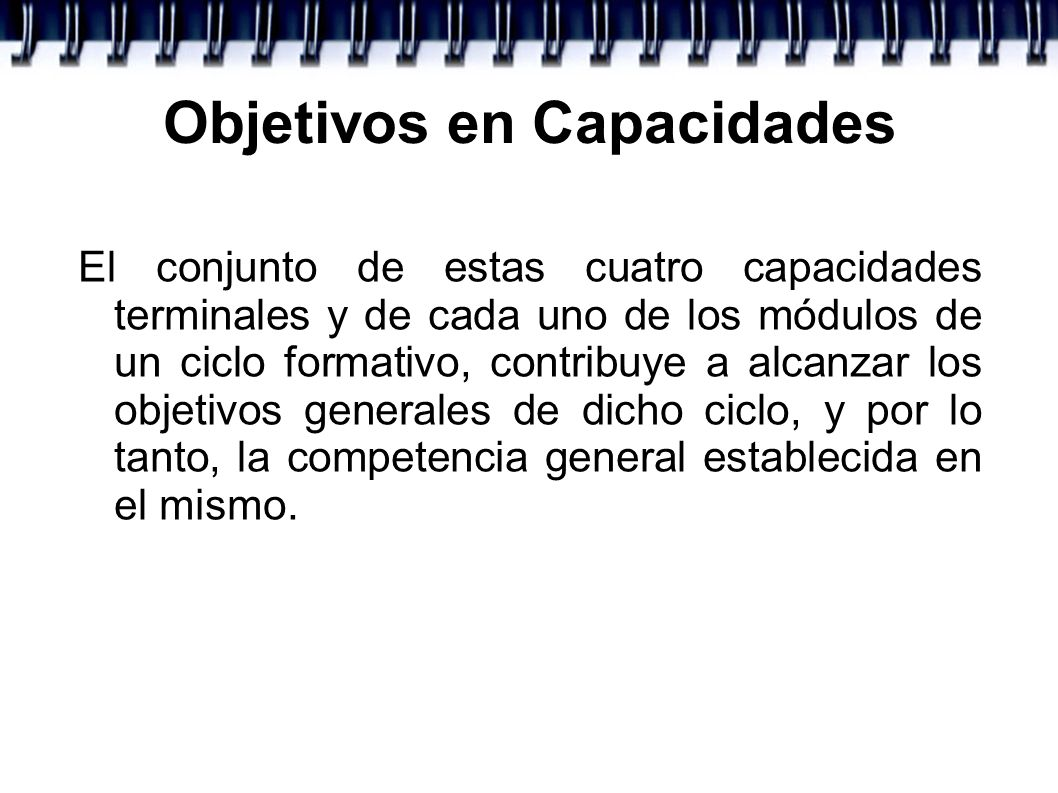 Objetivos en Capacidades