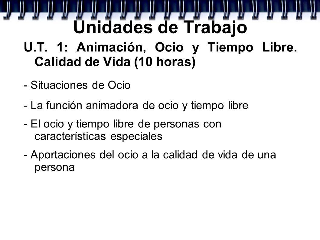 Unidades de TrabajoU.T. 1: Animación, Ocio y Tiempo Libre. Calidad de Vida (10 horas) - Situaciones de Ocio.