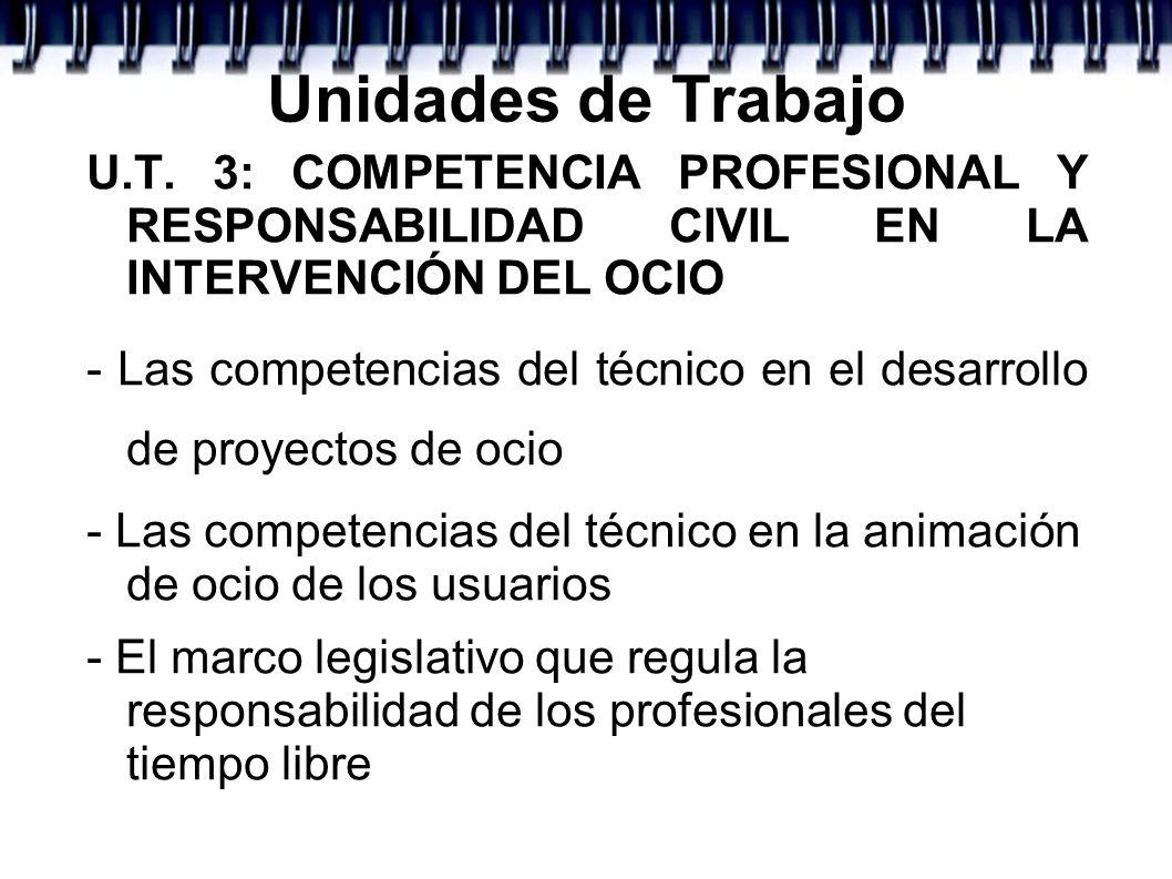 Unidades de TrabajoU.T. 3: COMPETENCIA PROFESIONAL Y RESPONSABILIDAD CIVIL EN LA INTERVENCIÓN DEL OCIO.