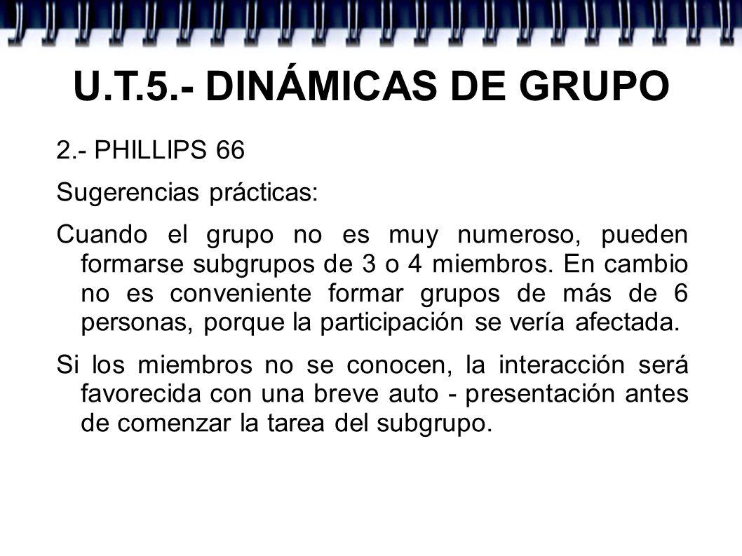 U.T.5.- DINÁMICAS DE GRUPO 2.- PHILLIPS 66 Sugerencias prácticas: