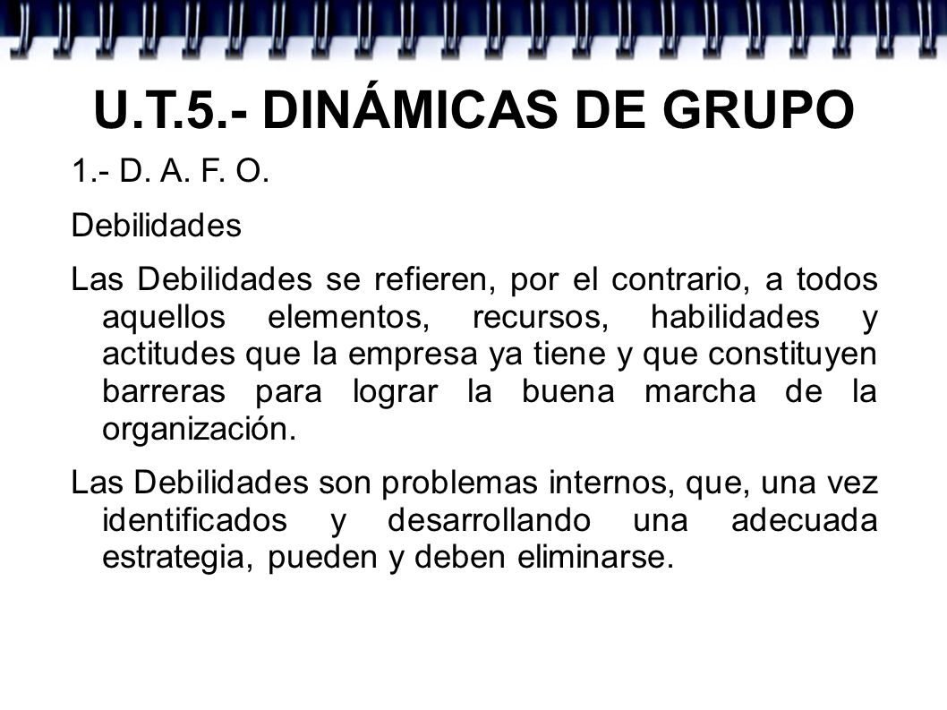 U.T.5.- DINÁMICAS DE GRUPO 1.- D. A. F. O. Debilidades