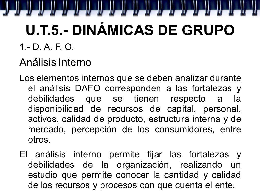 U.T.5.- DINÁMICAS DE GRUPO Análisis Interno 1.- D. A. F. O.