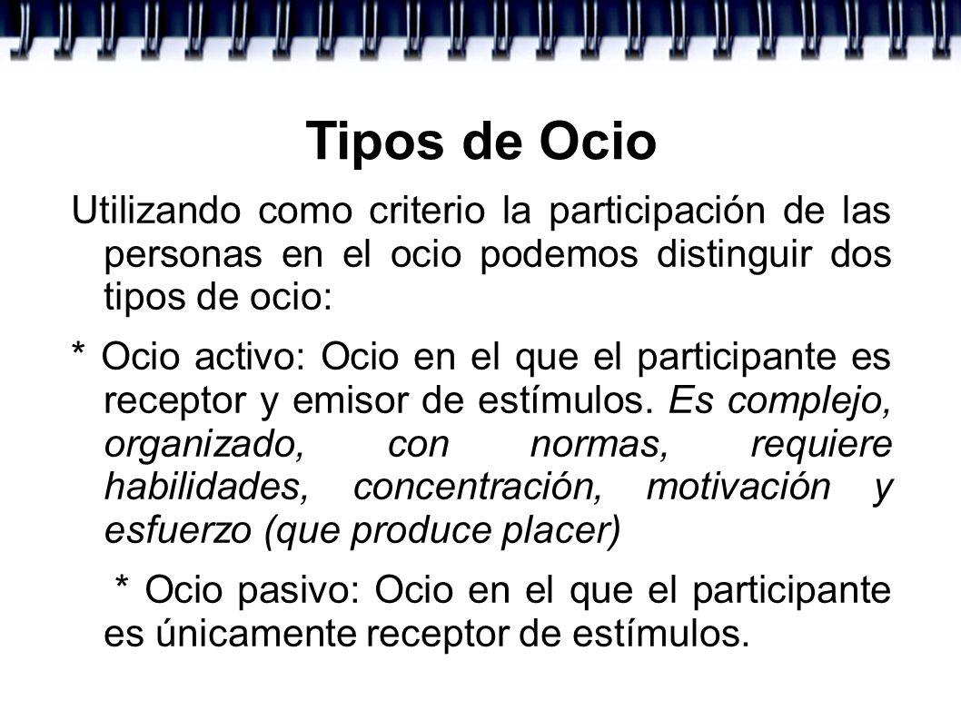 Tipos de Ocio Utilizando como criterio la participación de las personas en el ocio podemos distinguir dos tipos de ocio: