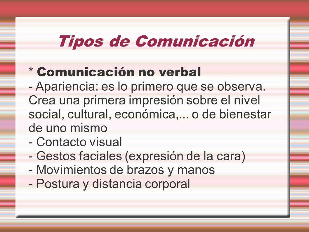 Tipos de Comunicación * Comunicación no verbal