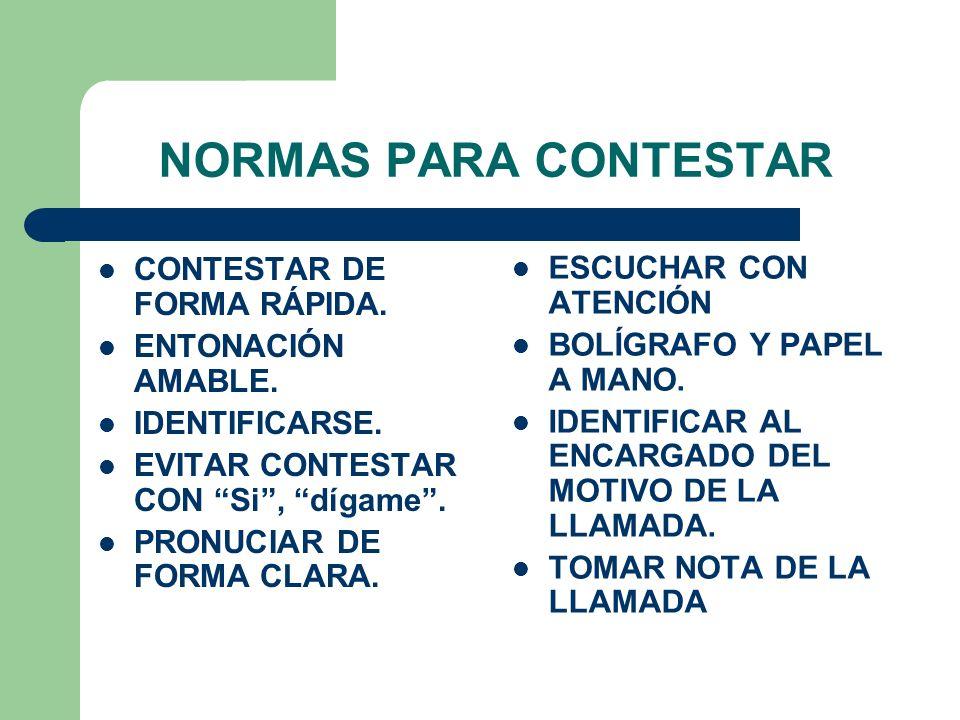 NORMAS PARA CONTESTAR CONTESTAR DE FORMA RÁPIDA. ESCUCHAR CON ATENCIÓN