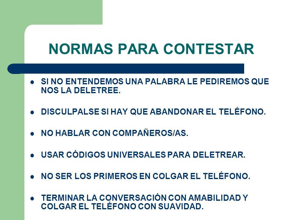 NORMAS PARA CONTESTAR SI NO ENTENDEMOS UNA PALABRA LE PEDIREMOS QUE NOS LA DELETREE. DISCULPALSE SI HAY QUE ABANDONAR EL TELÉFONO.