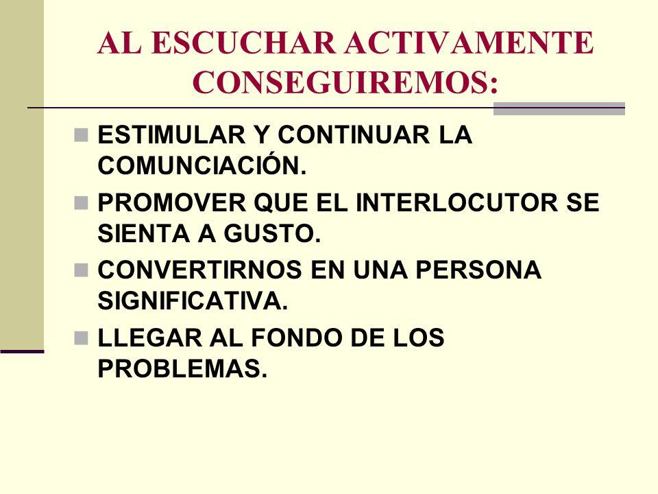 AL ESCUCHAR ACTIVAMENTE CONSEGUIREMOS: