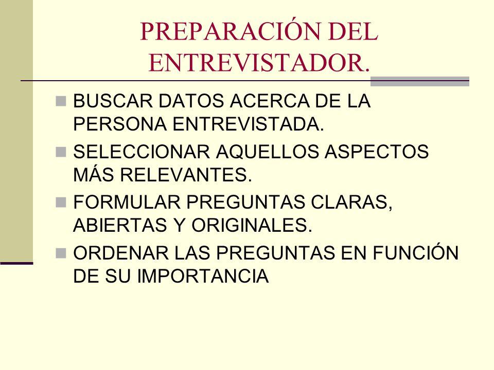 PREPARACIÓN DEL ENTREVISTADOR.
