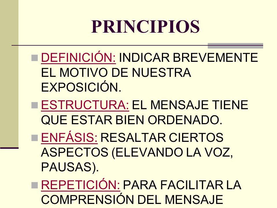 PRINCIPIOS DEFINICIÓN: INDICAR BREVEMENTE EL MOTIVO DE NUESTRA EXPOSICIÓN. ESTRUCTURA: EL MENSAJE TIENE QUE ESTAR BIEN ORDENADO.