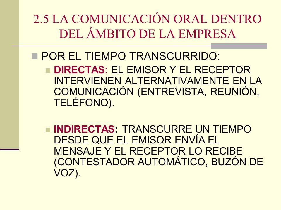 2.5 LA COMUNICACIÓN ORAL DENTRO DEL ÁMBITO DE LA EMPRESA