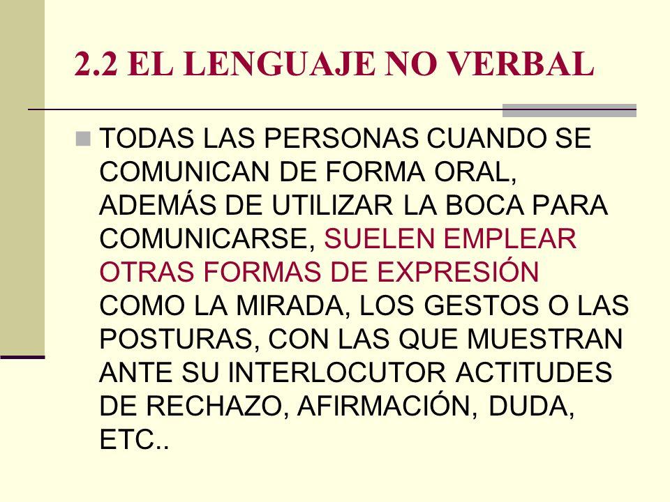 2.2 EL LENGUAJE NO VERBAL