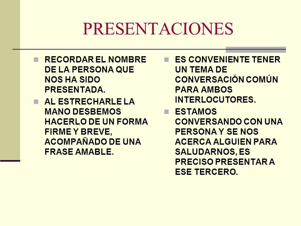 PRESENTACIONES RECORDAR EL NOMBRE DE LA PERSONA QUE NOS HA SIDO PRESENTADA.