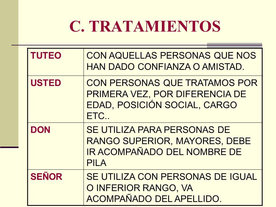 C. TRATAMIENTOS TUTEO. CON AQUELLAS PERSONAS QUE NOS HAN DADO CONFIANZA O AMISTAD. USTED.
