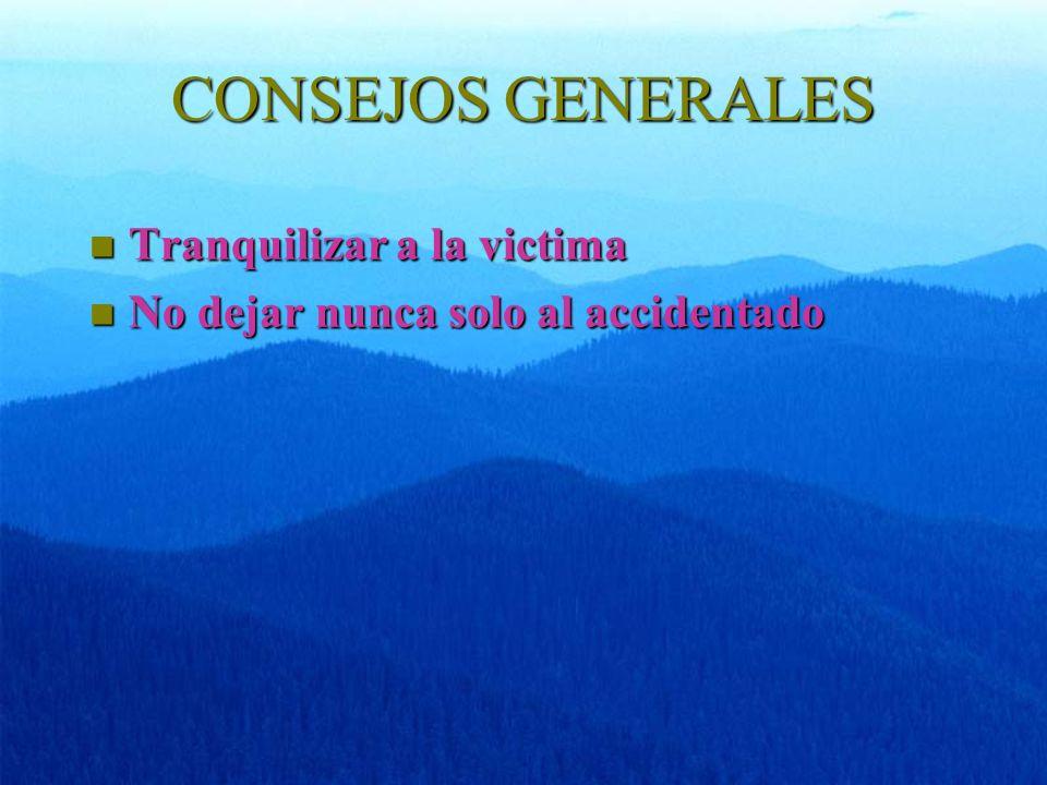 CONSEJOS GENERALES Tranquilizar a la victima