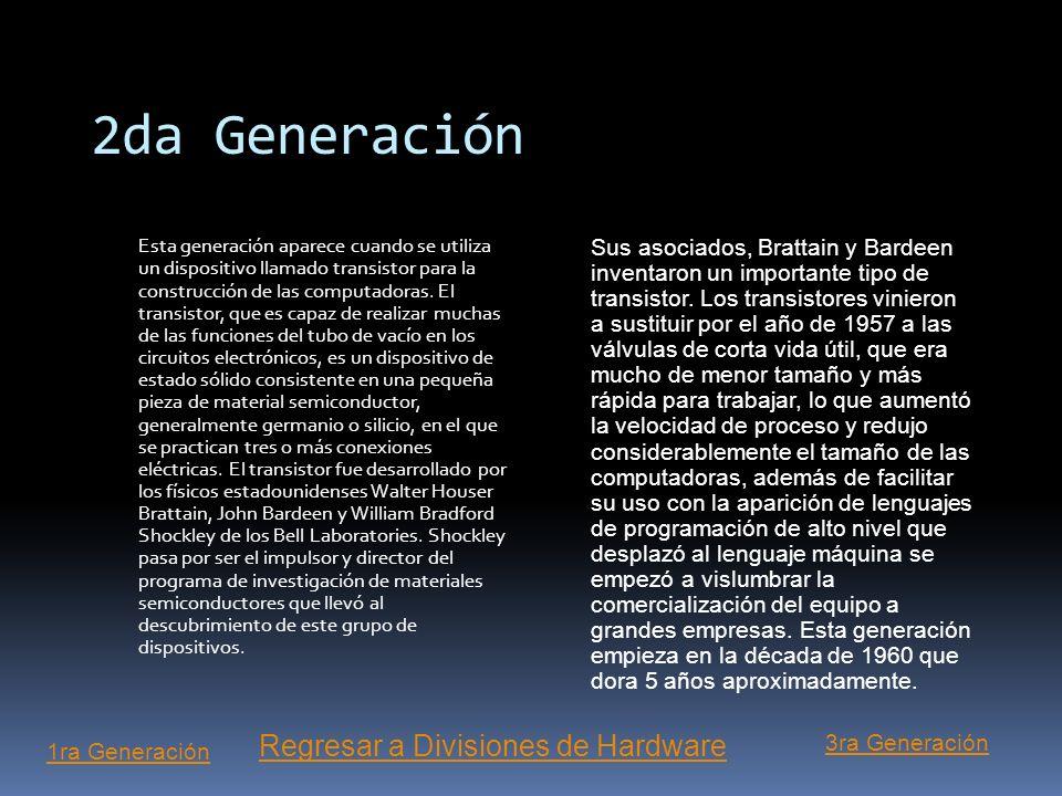 2da Generación Regresar a Divisiones de Hardware